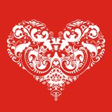 Heart on red background Stock Photos