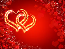 Heart on a red background. Two shiny hearts on the background of red hearts with sparkles Stock Images
