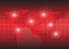 Heart red background map of the world Royalty Free Stock Image