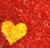 Heart on red background. oil painting picture Royalty Free Stock Photography