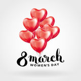 Heart red balloon 8 march. Womens day. Frosted party balloons event design. Balloons  in the air. Party decorations for , celebration, love. Shine metallic pink Royalty Free Stock Photos