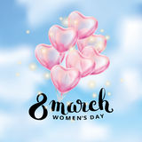 Heart red balloon 8 march. Womens day. Frosted party balloons event design. Balloons in the air. Party decorations for , celebration, love. Shine metallic pink stock illustration