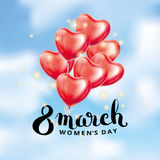 Heart red balloon 8 march. Womens day. Frosted party balloons event design. Balloons  in the air. Party decorations for , celebration, love. Shine metallic pink Stock Images