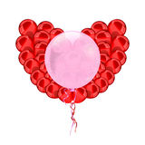 Heart  red balloons Stock Images