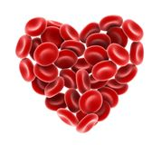 Heart of Red Blood Cells Isolated. On white background. 3D render Stock Image