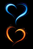 Heart from red and blue fire Royalty Free Stock Images