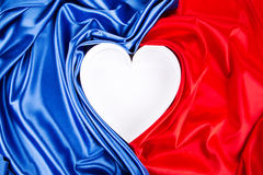 Heart of red and blue silk. Royalty Free Stock Images