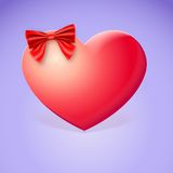 Heart With Red Bow Royalty Free Stock Photography