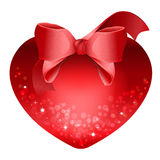 Heart with red bow isolated on white background Royalty Free Stock Photography