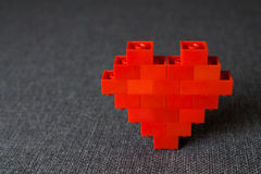 Heart. Red Bricks Elements of  Constructor. Royalty Free Stock Photos
