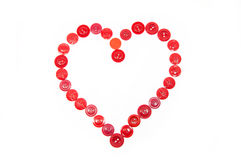 Heart from red buttons Royalty Free Stock Photos
