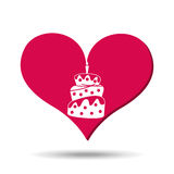Heart red cartoon cake candle icon design. Illustration vector illustration