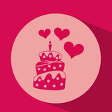 Heart red cartoon cake candle icon design. Illustration royalty free illustration