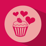 heart red cartoon cupcake strawberry icon design Royalty Free Stock Photography