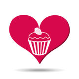 heart red cartoon cupcake strawberry icon design Royalty Free Stock Image