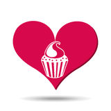 Heart red cartoon cupckae chips icon design Royalty Free Stock Photography