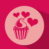 Heart red cartoon cupckae chips icon design Stock Photography
