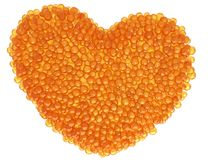Heart from red caviar Royalty Free Stock Images