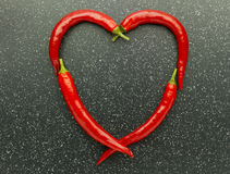 Heart red chili pepper Stock Image