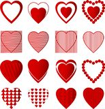 Heart red color set in white background stock illustration