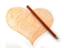 Heart with red Crayon Stock Image
