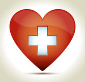 Heart-red-cross. Glossy red heart with white cross and shadow on light background Stock Photo