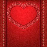 Heart red denim Royalty Free Stock Image