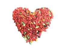 Heart from red dried goji berries Stock Photos