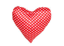 Heart of red fabric with polka dots. Isolated on white background stock images