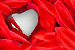 A Heart on Red Flower Leaves Stock Photos