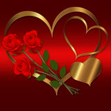 Heart Red Gold collection. Heart red gold flower for Valentines Stock Photo