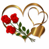 Heart Red Gold collection. Heart red gold flower for Valentines Royalty Free Stock Photo