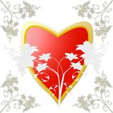 Heart of red and gold in the decoration. Of the floral elements in the ancient style Royalty Free Stock Photos