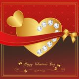 Heart Red Gold collection - Diamond Royalty Free Stock Image