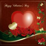 Happy Valentine`s Day - Heart Red Gold collection Stock Photography
