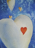 Heart With A Red Heart Inside. White hearts and a red one on a blue background, painted in watercolor technique, created by the photographer Royalty Free Stock Photo