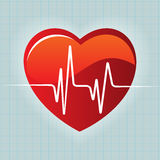 Heart red and heartbeat background Stock Photo