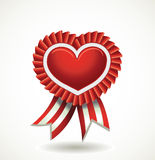 Heart red label with ribbons. Stock Images