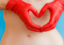 A heart of red leather Royalty Free Stock Images