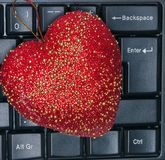 Heart red love on Computer keyboard. Concept valentines day Royalty Free Stock Image