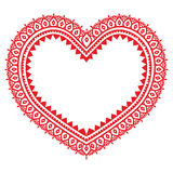 Heart red Mehndi design, Indian Henna tattoo pattern Stock Image