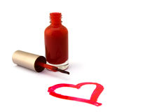 Heart of red nail polish Stock Photo