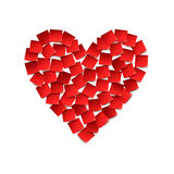 Heart. Red paper stickers Stock Photos