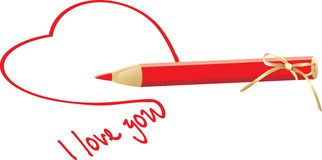 Heart and red pencil with bow Royalty Free Stock Image