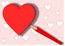 Heart and red pencil ,  Stock Photo
