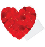 Heart of red petals and blank white paper Stock Photo