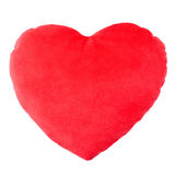 Heart red pillow, cushion. Isolated on white, clipping path included royalty free stock photo