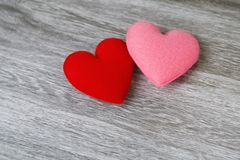 Heart red and pink color on wood background. concept valentine. Day stock images