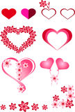 Heart, red, pink, frames, balls inflatable in the form of hearts, colorful hearts different, flowers, beautiful hearts, interestin Stock Photo