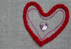 Heart of red and pink thread Stock Photo
